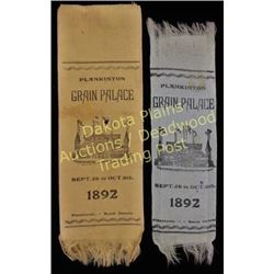 Pair of scarce ribbons from 1892 Plankington S.D. Grain Palace, predecessor to Mitchell's Corn Palac