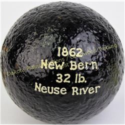 Civil war cannon ball from an old Michigan collection, marked 1862, New Bern 32lb, Neuse River.  Est