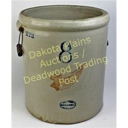 Redwing 8 gallon crock with 1913 patented date, good condition, handles in tact, showing NO cracks.