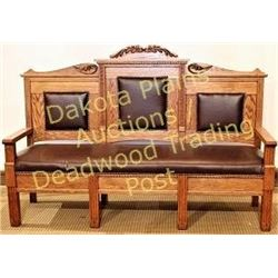 """Antique American oak bench 71"""" long, nicely restored with brown cowhide leather upholstery brass tac"""
