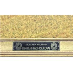 Montana Roundup  heavy cardboard lithograph produced by Northern Pacific Railway in original gold f