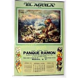 Large 1946 Mexican art calendar advertising El Aguila cigarettes, artwork depicting legend of the vo