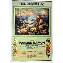 Large 1946 Mexican art calendar advertising El Aguila cigarettes, artwork depicting legend of the vo