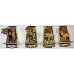 Set of 4 Olympia Beer Wildlife series 3D plaques c. 1970's including antelope, sheep, and moose, ori