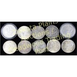 Collection of 10 Morgan Silver dollars mixed dates with no mint marks.  Est. 200-300