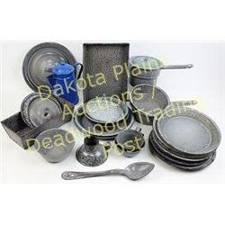 Large collection of antique gray enamel Est. 75-125