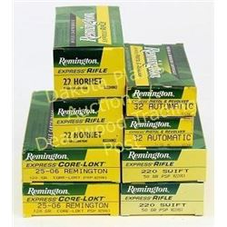 Collection of 8 Remington full boxes ammunition includes .22 Hornet, .32 auto, 220 swift, 25-06 Remi