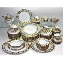 Fine quality 12 piece china set by Kutani c. 1950's with serving pieces, set consists of 12 each cup
