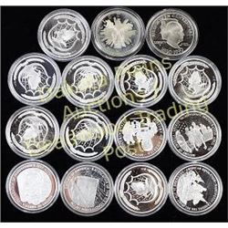 Collection of 15 coins includes 13 .999 silver History of America 20g each, 1890-1990 Eisenhower Cen