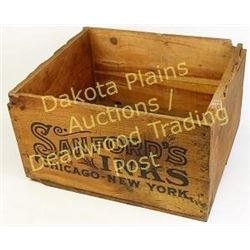 """Good early wooden crate embossed Sanfords Inks from the old Lown Hardware store, Spearfish S.D., 9""""X"""