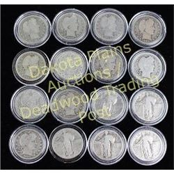 Collection of 16 coins includes 11 mixed date Standing Liberty quarters and 5 barber mixed date quar