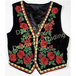 Vintage salish beaded on cloth vest approximately size M, excellent condition.  Est. 100-175