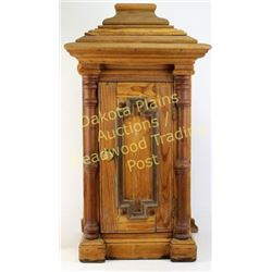 """Primitive pine wall cabinet with hinging front door, 27"""" tall.  Est. 100-175"""