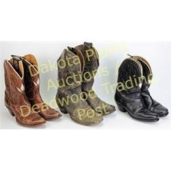 Collection of 3 vintage cowboy boots including brown Olsen Stelzers with white floral leaf uppers an