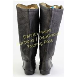 """Great pair childs Civil War Era boots 6"""" long, 10"""" tall, Baystate Rubber Co on soles.   Est. 125-200"""