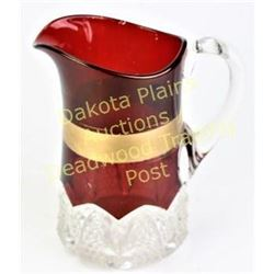 "large antique ruby stained water pitcher with painted gold band, 8.5"" tall, condition is very good,"