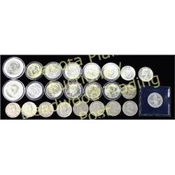 Collection of 25 half dollars including commemorative and mixed dates.  Est. 150-300