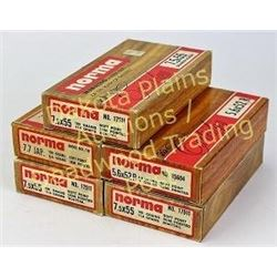 5 full boxes vintage Norma including 7.7. Jap, 7.5 and 5.6.   Est. 50-100