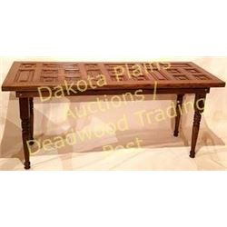 Large oak table made from  recycled antique panels from an early  Chicago mansion torn down in the 1