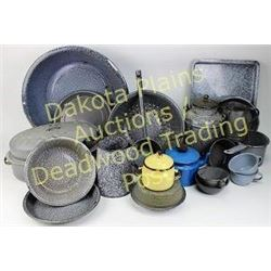 Large collection of antique gray granite ware Est. 50-100
