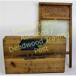 Collection of 2 Paxton and Gallagher Omaha, Nebraska glass washboard, great graphics, and Paxton cra