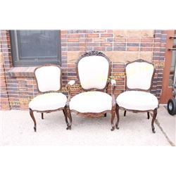 Collection of 3 Victorian carved parlor chairs in  Rosewood  rococo style with carved crests, includ
