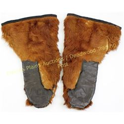 Pair frontier period horsehair mittens lined and quilted cotton inside and leather palms, good overa