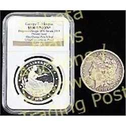 Collection of 2 coins including 1891 cc Morgan silver dollar, and ultra cameo gem proof George T Mor