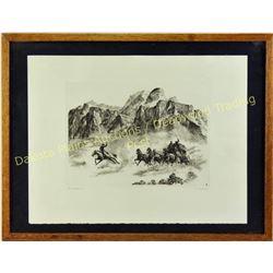"Original R.H. Palenski etching entitled ""Pony Express"" signed lower right corner, image size 7.5""X10"