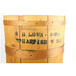 Paxton and Gallagher wooden coffee barrel good, early store collectable, stenciled W.B. Lown & Sons,