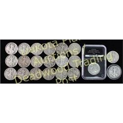 21 mixed date walking liberty half dollar coins Est. 100-175