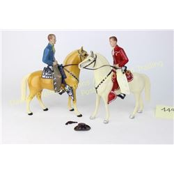 Collection of 2 1950's Hartland Roy Rogers figures with horses and saddles, condition is near fine.
