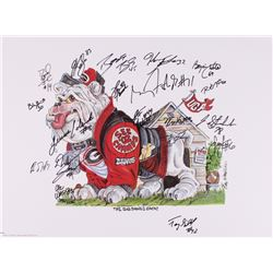 """""""The Big Dawg Is Back"""" Georgia 18x24 LE Lithograph #1860/2500 Signed by (19) with Terrence Edwards,"""