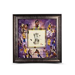 "Magic Johnson Signed LE Lakers 36x36 Custom Framed Tegata Handprint Display Inscribed ""HOF 02"" (UDA"