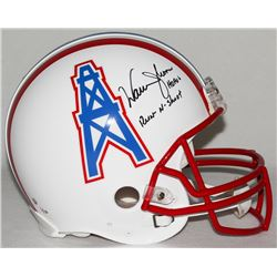 "Warren Moon Signed Oilers Full-Size Authentic Pro-Line Helmet Inscribed ""HOF 06""  ""Run-N-Shoot"" (Ste"