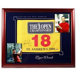 Tiger Woods Signed LE 2000 British Open 26x32 Custom Framed Golf Pin Flag Display #135/500 (UDA COA)