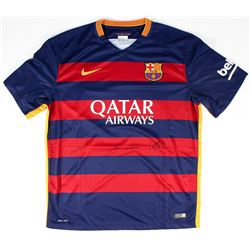 "Lionel Messi, Neymar Jr.  Luis Suarez ""Tres Amigos"" Multi-Signed FC Barcelona Home Jersey (Icons COA"