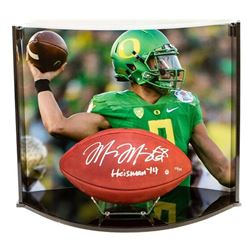 """Marcus Mariota Signed LE NFL Official Game Ball Inscribed """"Heisman 14"""" with Custom Curve Display Cas"""