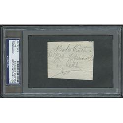 Babe Ruth, Tris Speaker  Ty Cobb Signed 2x3 Cut (PSA Encapsulated)