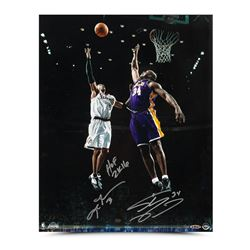 """Allen Iverson  Shaquille O'Neal Signed 16x20 Photo Inscribed """"Floater"""" LE 34 (UDA COA)"""