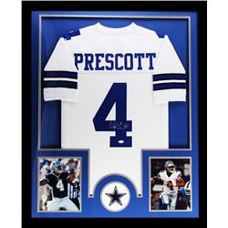 "Dak Prescott Signed Cowboys 34"" x 42"" Custom Framed Jersey (JSA COA)"