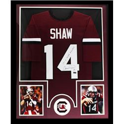 "Connor Shaw Signed South Carolina Gamecocks 34"" x 42"" Custom Framed Jersey Inscribed ""17-0 Home Reco"