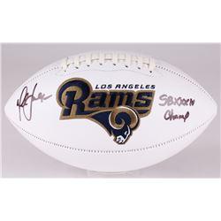"""Marshall Faulk Signed Rams Logo Football Inscribed """"SB XXXIV Champs"""" (JSA COA)"""