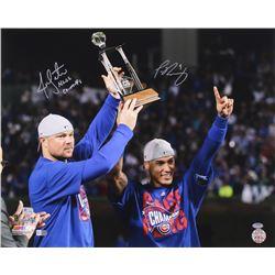 "Jon Lester  Javier Baez Signed Cubs 16x20 Photo Inscribed ""NLCS Champs"" (MLB, Fanatics, Schwartz COA"