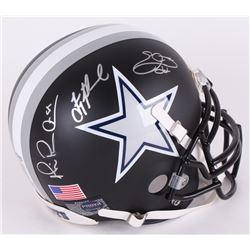 Michael Irvin, Troy Aikman,  Emmitt Smith Signed Cowboys Custom Matte Black Authentic Full-Size Helm