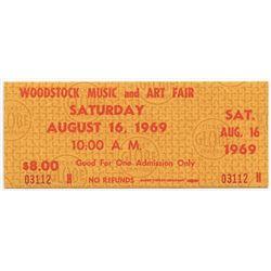 Woodstock Authentic Unused Ticket from Saturday August 16, 1969