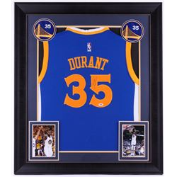 Kevin Durant Signed Warriors 31.75x36.75 Custom Framed Jersey (PSA COA)