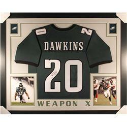 Brian Dawkins Signed Eagles 36x44 Custom Framed Jersey (JSA COA)