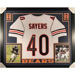 Gale Sayers Signed Bears 36x44 Custom Framed Jersey (JSA COA)
