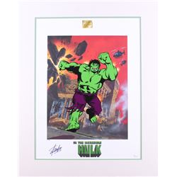 """Stan Lee Signed """"The Incredible Hulk"""" 21.5x27 Custom Matted Limited Edition Lithoserigraph by Joe Ju"""